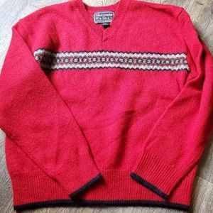 Abercrombie and Fitch Red Vneck Wool Sweater Med